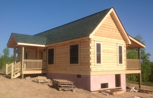 Here is the cabin, shortly after installation on the foundation.